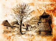 Vintage mountain oldtime willage with wooden houses and belfry, pencil drawing on papier, sepia effect. Stock Image