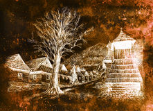 Vintage mountain oldtime willage with wooden houses and belfry, pencil drawing on papier, sepia invert effect. Stock Image