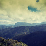 Vintage mountain and strong clouds Royalty Free Stock Photo