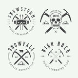 Vintage mountaineering and arctic expeditions logos, badges, emb Royalty Free Stock Image