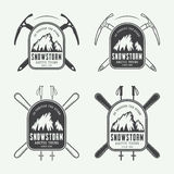 Vintage mountaineering and arctic expeditions logos, badges, emblems and design elements. Stock Photo