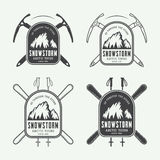 Vintage mountaineering and arctic expeditions logos, badges. Emblems and design elements. Vector illustration stock illustration