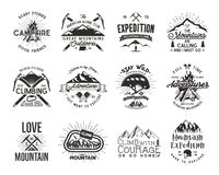 Vintage mountaineering badges. Climbing logo, vintage emblems. Climb alpinism gear - helmet, carabiner, campfire. Retro. T shirt design. Old style illustration Royalty Free Stock Photography