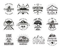 Vintage mountaineering badges. Climbing logo, vintage vector emblems. Climb alpinism gear - helmet, carabiner, campfire. Retro t shirt design. Old style Stock Photography