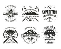 Vintage mountaineering badges set. Climbing logo, vintage emblems. Climb alpinism gear - helmet, carabiner, campfire. Retro t shirt design. Old style Stock Images