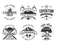 Vintage mountaineering badges set. Climbing logo, vintage vector emblems. Climb alpinism gear - helmet, carabiner. Campfire. Retro t shirt design. Old style Royalty Free Stock Photography