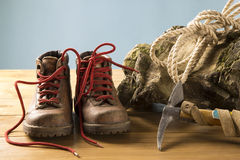 Vintage mountaineering equipment. Old equipment for mountain hikes Royalty Free Stock Photography