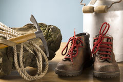 Vintage mountaineering equipment. Old equipment for mountain hikes Stock Photos