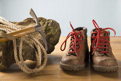 Vintage mountaineering equipment. Old  - vintage equipment for mountain hikes Stock Photography