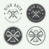 Vintage mountaineering logos, badges, emblems. Stock Photo
