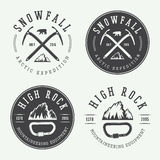 Vintage mountaineering logos, badges, emblems. Royalty Free Stock Photo