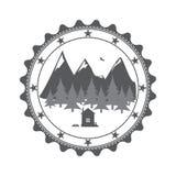 Vintage mountains label Stock Photos