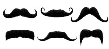 Vintage moustache. Funny retro mustache, fake mustaches and isolated curly hair moustaches vector illustration royalty free illustration