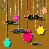 Vintage moustache and lips card design Royalty Free Stock Images