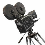 Vintage movie camera. 3d. Vintage movie camera on white background. 3d Royalty Free Stock Photography