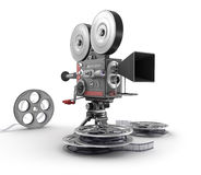 Vintage movie camera and film. My own design Stock Photo