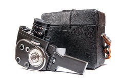 Vintage movie camera and leather case for it isolated on white Stock Photo