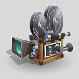 Vintage movie camera. Old style movie camera. Vector illustration Stock Images