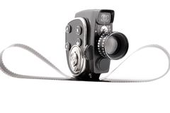 Vintage Movie camera on a white stock image