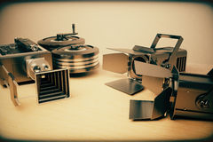 Vintage movie cameras, retro photo effect. Close up Stock Photo