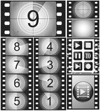 Vintage movie countdown on a 35mm silent film and 135 film frame Stock Photography