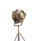Vintage Movie Light on a stand, isolated background and blank text Royalty Free Stock Images