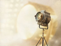 Vintage Movie Light on a stand and paper grain vintage color tone Royalty Free Stock Photo