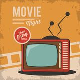Vintage movie night television card concept. Vector illustration Royalty Free Stock Image