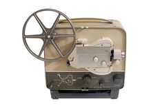 Vintage Movie Projector on White Royalty Free Stock Photography