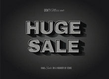 Vintage movie sale sign. Vintage movie or retro cinema text effect advertising vector huge sale sign Royalty Free Stock Images