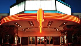 Vintage Movie Theater. With neon lights in Sacramento, California stock photo