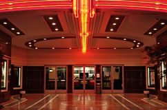 Vintage Movie Theater Lobby. Lobby of a vintage movie theater in Sacramento, California stock photography