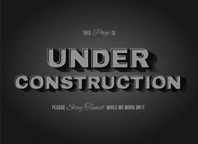 Vintage Movie Under Construction Sign. Vintage movie or retro cinema text effect vector under construction sign Stock Images