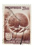 Vintage Mozambique Postage Stamp. On White Background Royalty Free Stock Photo