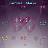 Vintage, máscaras do carnaval Fotos de Stock Royalty Free
