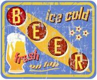 Vintage, muestra retra de la cerveza ilustración del vector