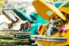 Vintage multicolor cars old engine Stock Photography
