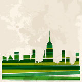 Vintage multicolor skyline city Stock Photo