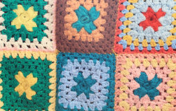 Vintage multicolored crocheted squares Stock Photo