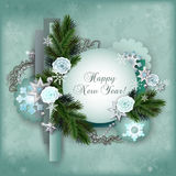 Vintage multilayer card for the winter holidays in scrapbooking Stock Photography