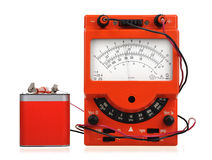 Vintage multimeter with battery Stock Photos