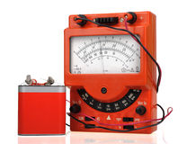 Vintage multimeter with battery Stock Photography