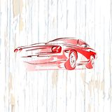 Vintage muscle car drawing on wooden background stock illustration