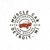 Vintage muscle car garage logo. vector illustration. Vintage muscle car garage logo. retro vehicle emblem, badge, design element, logotype template. vector Stock Photos