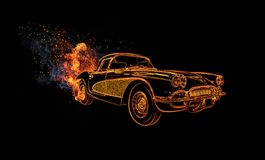 Muscle car, neon light on black background. royalty free stock images