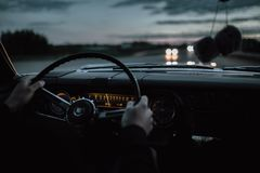 Vintage muscle car on the road Royalty Free Stock Photo
