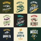 Vintage muscle, roadster, hot rod and classic car vector t-shirt logo isolated set. Premium quality auto logotype tee-shirt emblem illustration. Vehicle street stock illustration