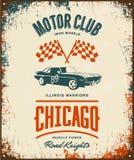 Vintage muscle vehicle vector logo isolated on light background. Premium quality sport car logotype tee-shirt emblem illustration. Chicago, Illinois street Stock Photo