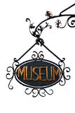 Vintage Museum Sign (isolated) Royalty Free Stock Photos