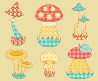 Vintage mushroom patchwork set. Stock Photography